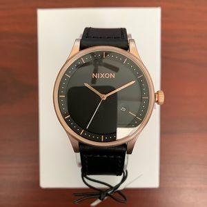 "Nixon ""Station Leather"" Rose Gold & Black Watch"